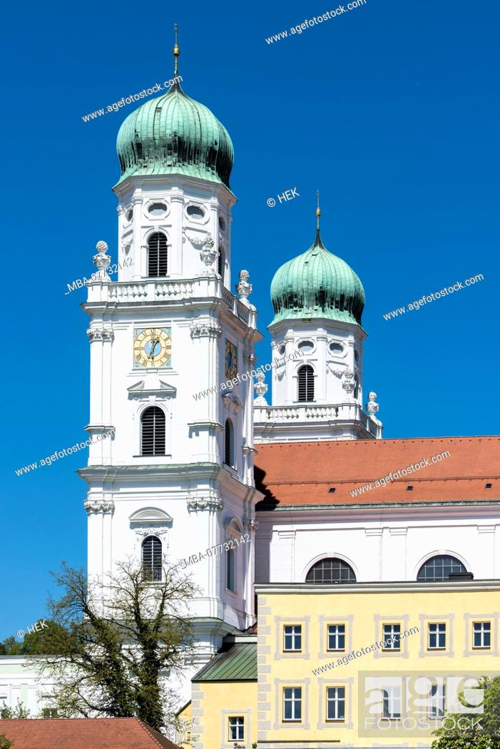 Stock Photo: The towers of the Stephansdom in Passau.