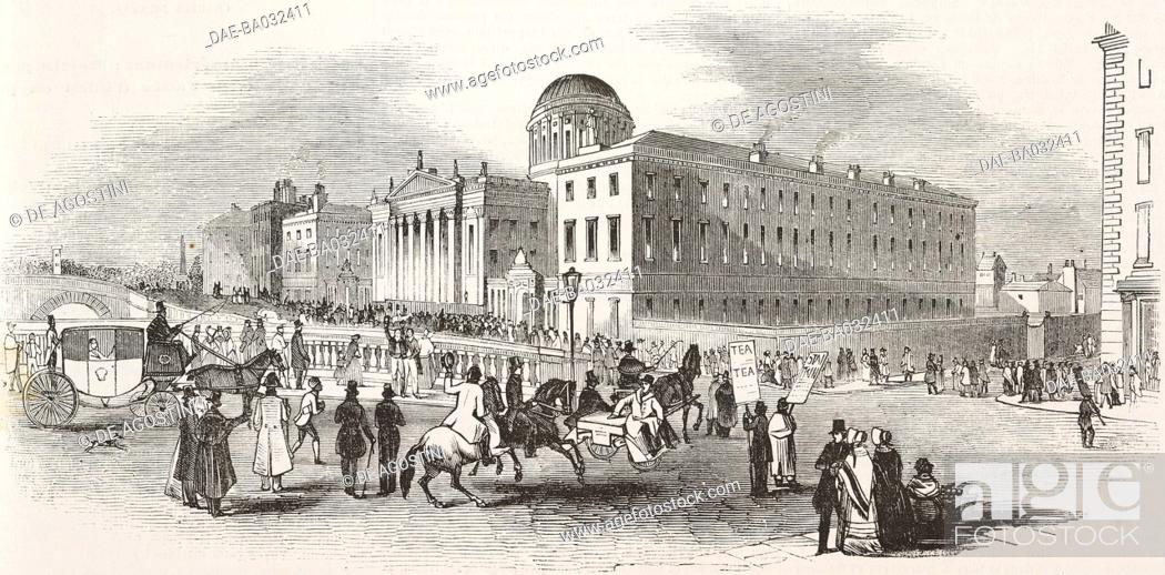 Stock Photo: View of the Four Courts in Dublin, during Daniel O'Connell's (1775-1847) trial, Ireland, illustration from L'Illustration, Journal Universel, No 47, Volume 2.