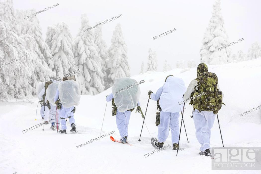 Stock Photo: Winter training of the Czech Special force.