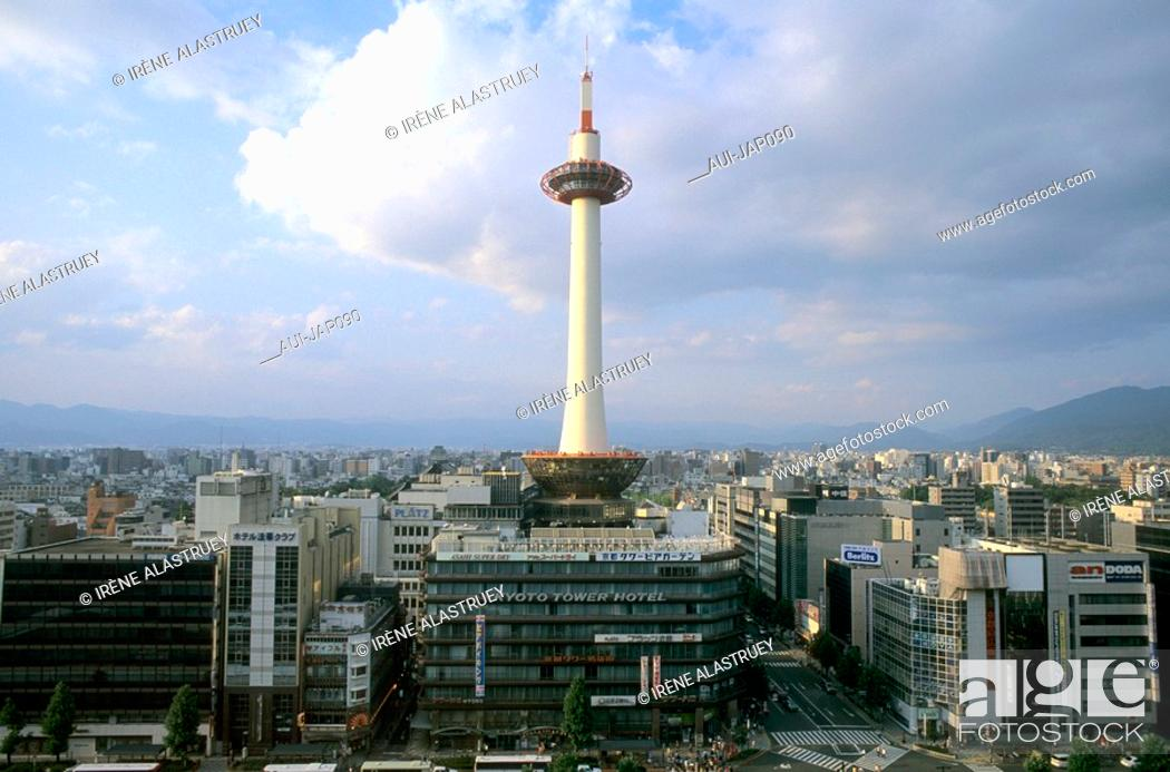 Stock Photo: Japan - Kyoto - The Railway station district - Tokyo tower.