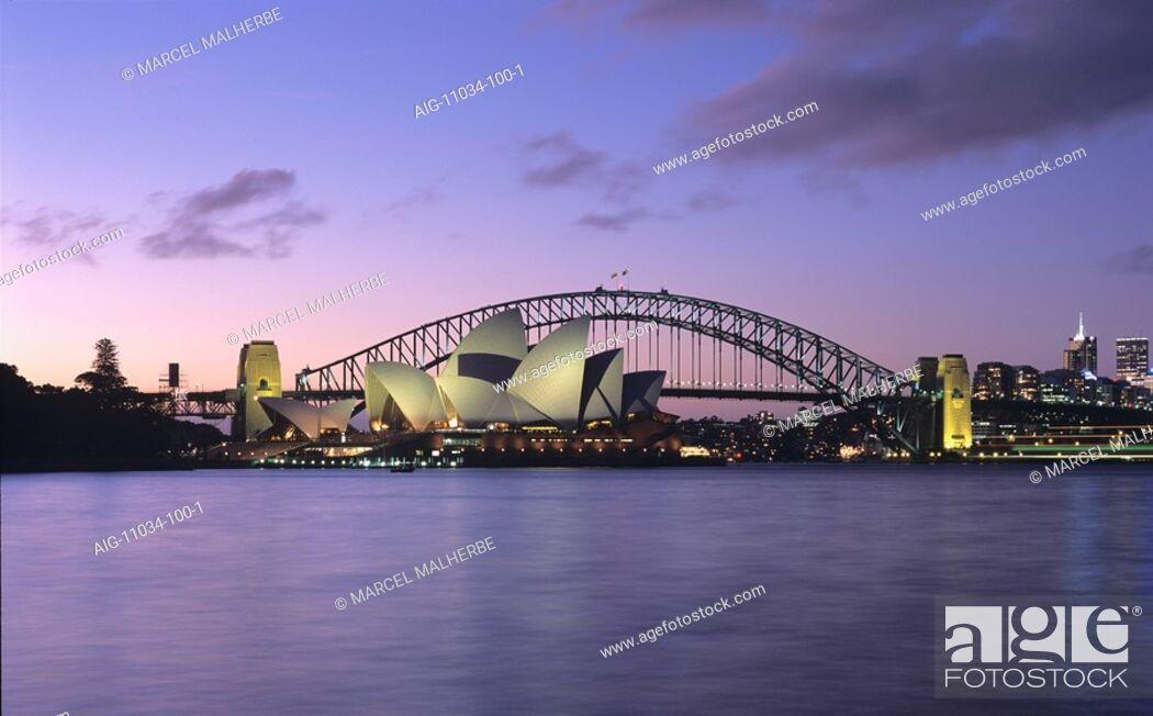 Stock Photo: Opera House and Harbour Bridge, Sydney, at dusk.