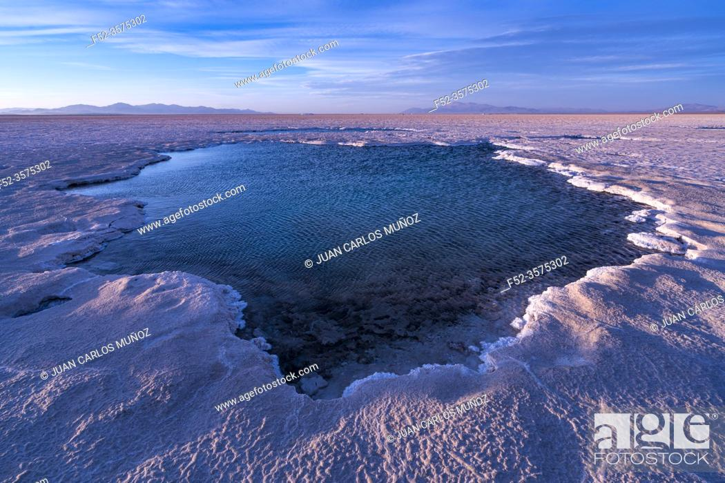 Stock Photo: Landscape at sunset in Salinas Grandes in the province of Jujuy, Argentina, South America, America.