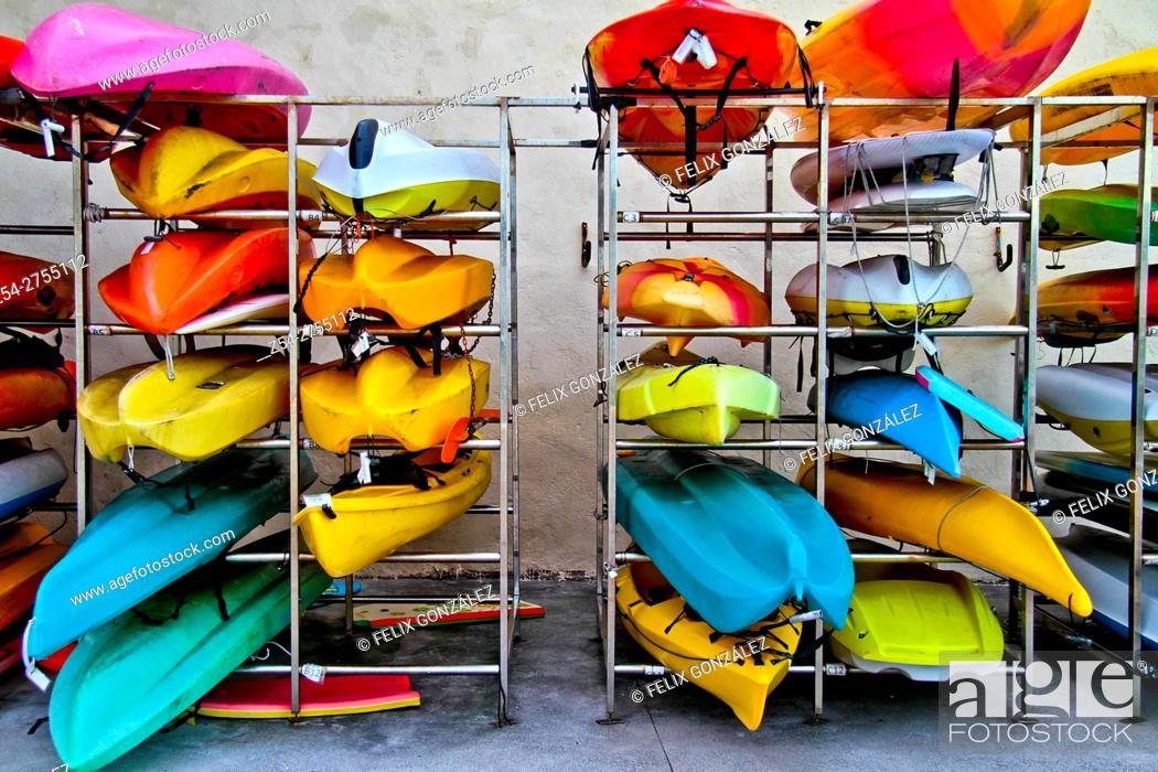 Stock Photo: Canoe storage at Gijón Asturias Spain.