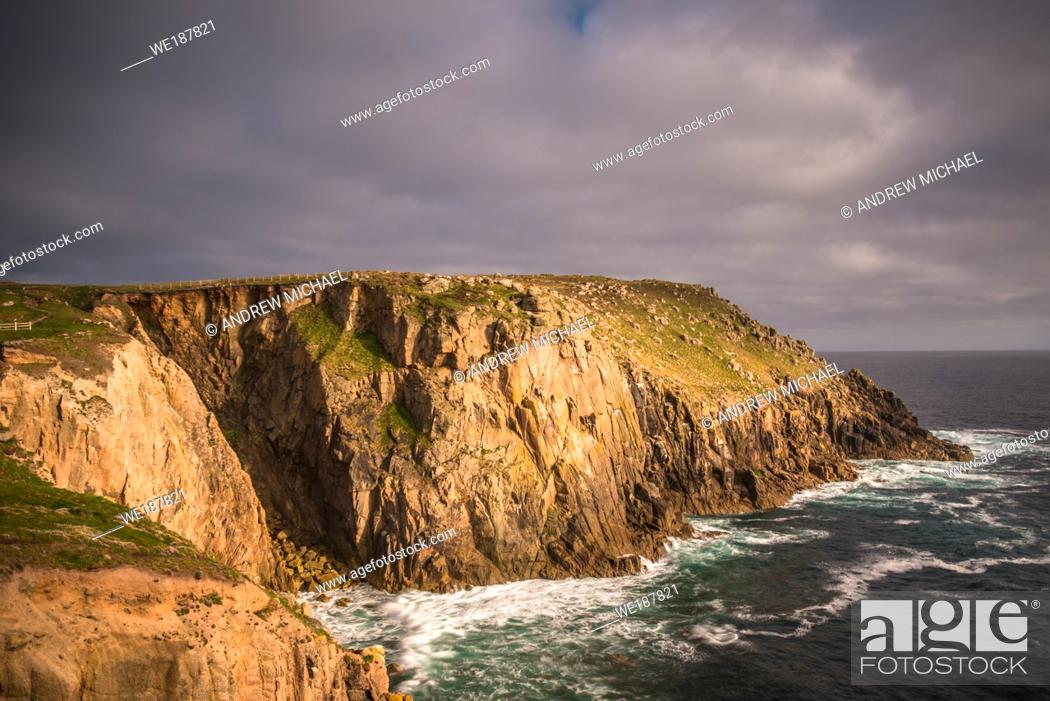 Stock Photo: Zawn Trevilley and Carn Boel at Lands End on the tip of Cornwall, England, UK.