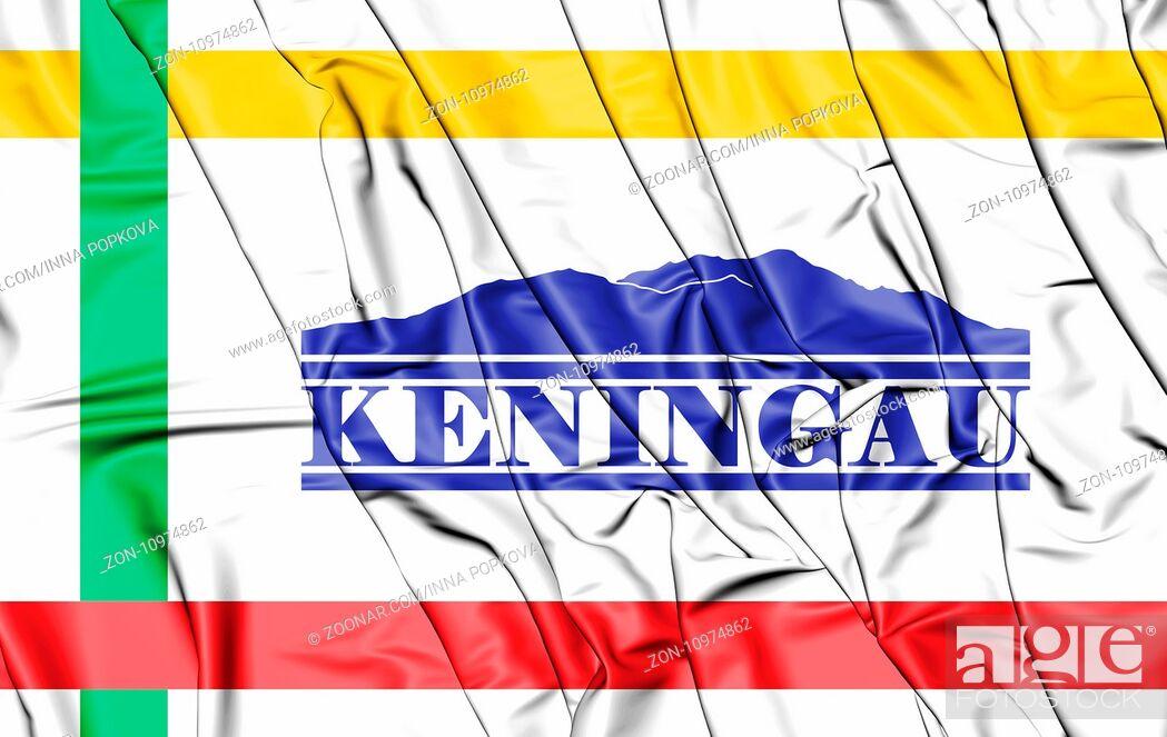 Stock Photo: 3D Flag of Keningau (Sabah), Malaysia. 3D Illustration.