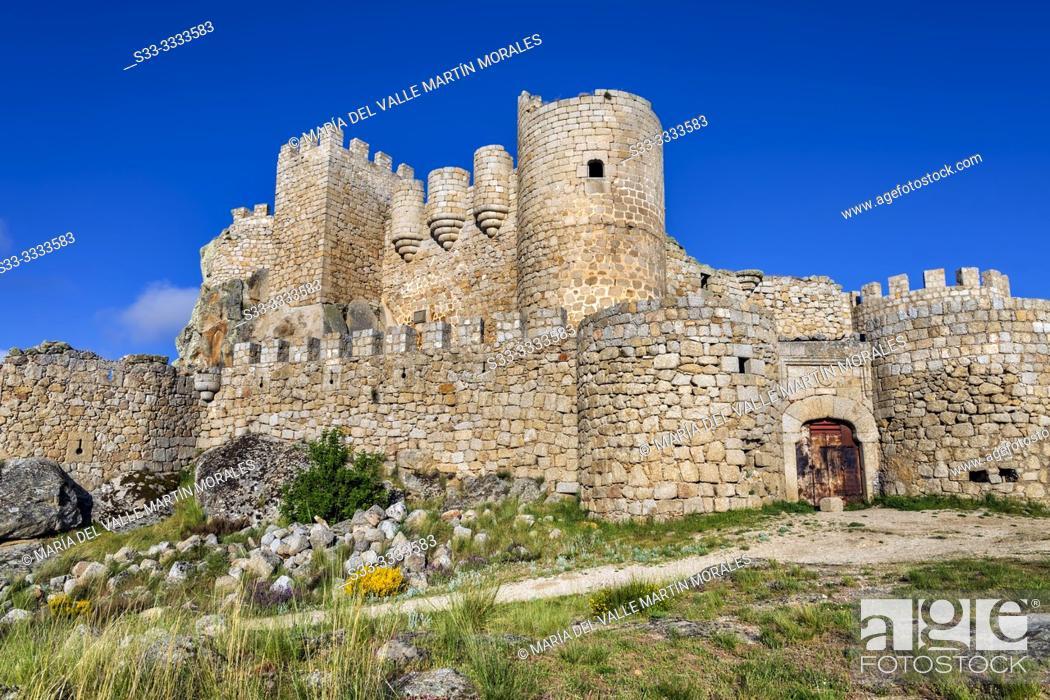 Stock Photo: Manqueospese medieval castle at Sierra Paramera in Sotalvo. Avila. Spain. Europe.