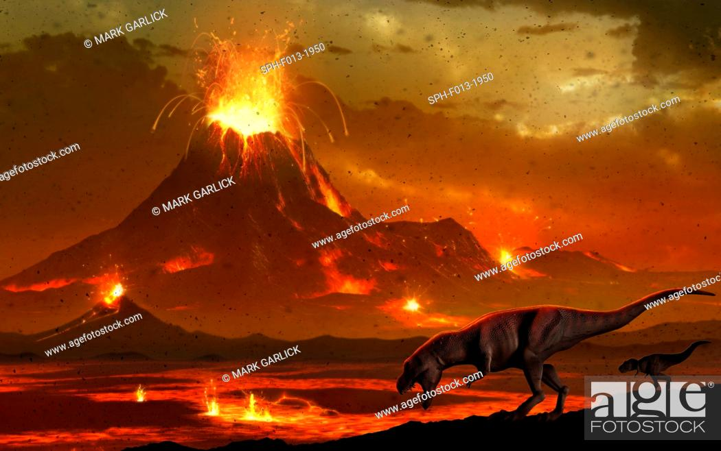 Stock Photo: Artwork of a pair of tyrannosaur dinosaurs surveying a volcanic landscape. This depicts a scene at the end of the Cretaceous period in Earth's history.