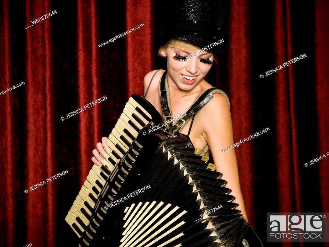 Stock Photo: woman in vaudevillian attire.