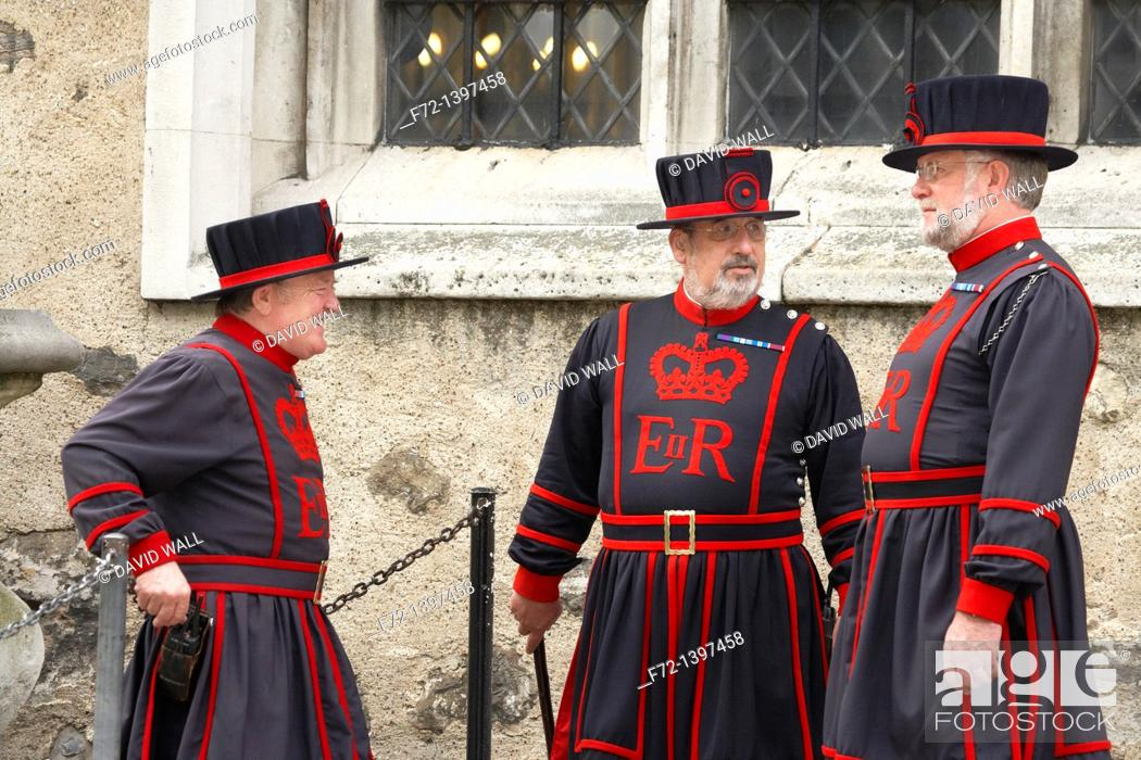 Stock Photo: Yeoman Warders or 'Beefeaters' at the Tower of London, London, England, United Kingdom.