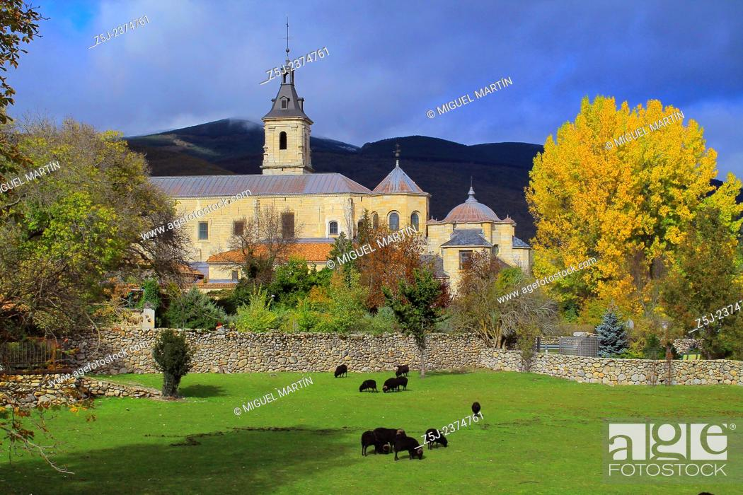 Stock Photo: The monastery of Santa María de El Paular, founded in 1390 by the king Henry II of Castile near Rascafría, is the Lozoya Valley's great historical and.