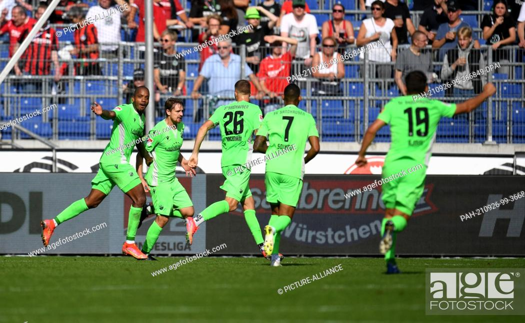 Stock Photo: 26 September 2021, Lower Saxony, Hanover: Football: 2nd Bundesliga, Matchday 8: Hannover 96 - SV Sandhausen at the HDI Arena.