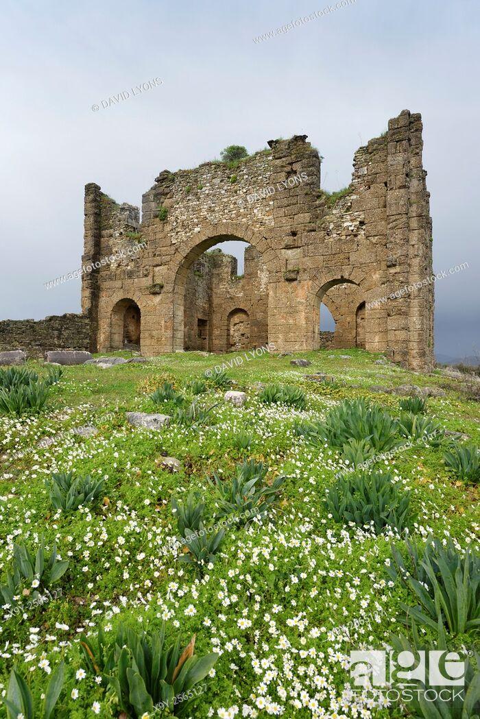 Stock Photo: Ruins of the Roman Basilica in ancient Greco-Roman city of Aspendos, southern Turkey.