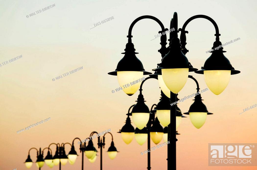 Stock Photo: KUWAIT-Kuwait City: Sharq Souk Marina Lights / Dusk.