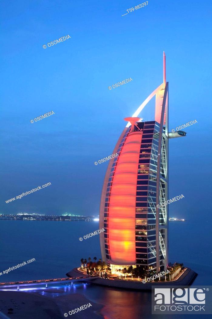 Stock Photo: Burj Al Arab Hotel at dusk, Dubai, United Arabian Emirates.
