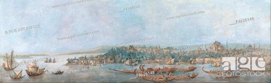 Stock Photo: Panorama of Sarayburnu. Cassas, Louis-François (1756-1827). Watercolour on paper. Orientalism. Late 18th cent. . France. Pera Museum, Istanbul. 75x237.