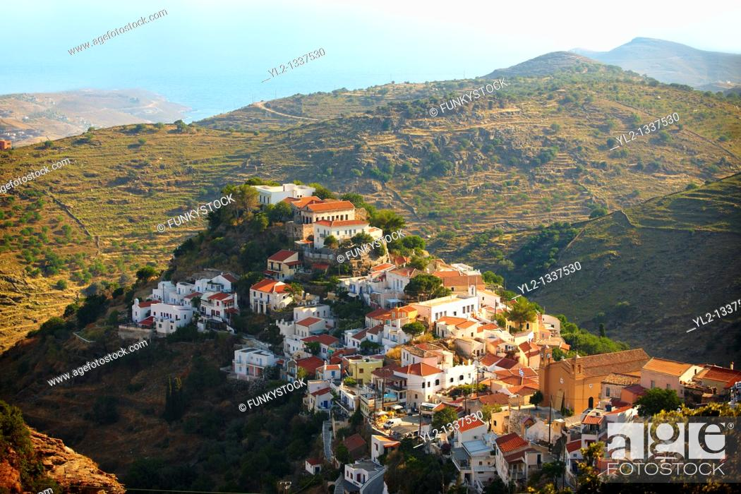 Stock Photo: view of Ioulis Chora administrative centre town of Kea, Greek Cyclades Islands.