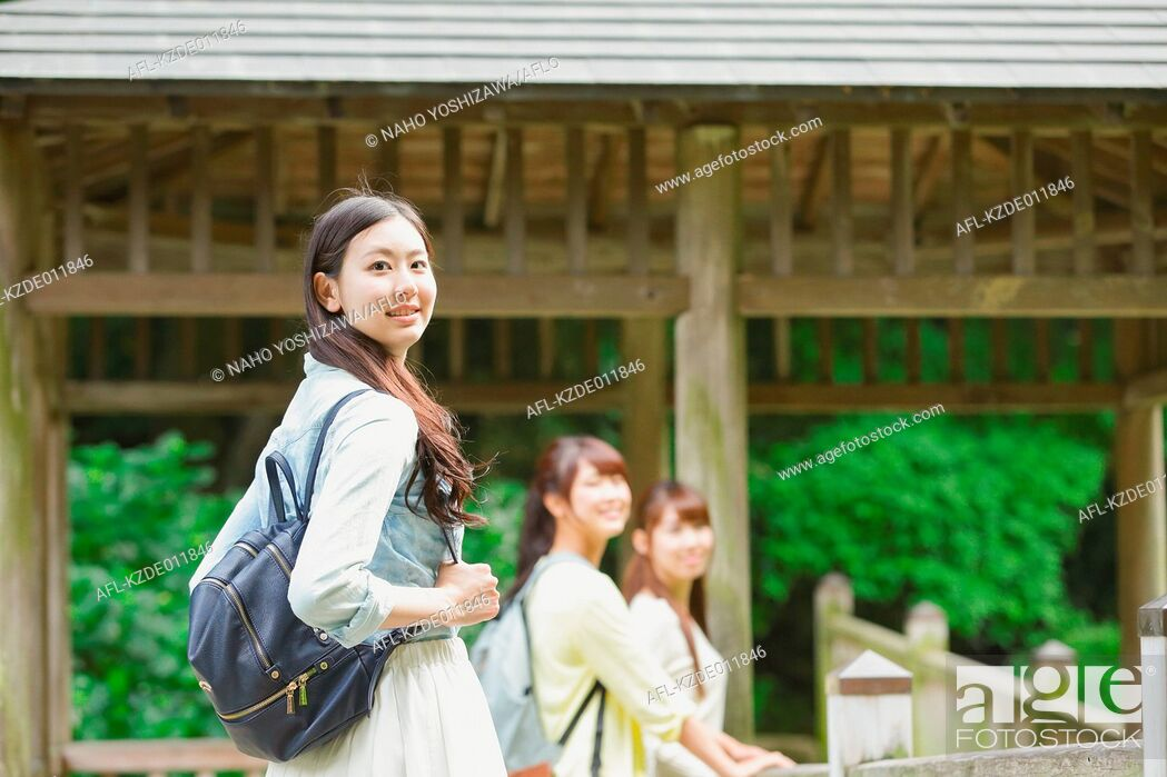 Stock Photo: Young Japanese women on a girls trip.