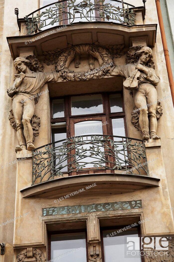 Stock Photo: Close up of an Art Nouveau Balcony. Prague, Czech Republic, Europe.