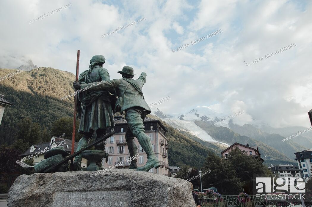 Stock Photo: Monument in a square of chamonix to the first climbers of Mont Blanc, both continue looking at the top.