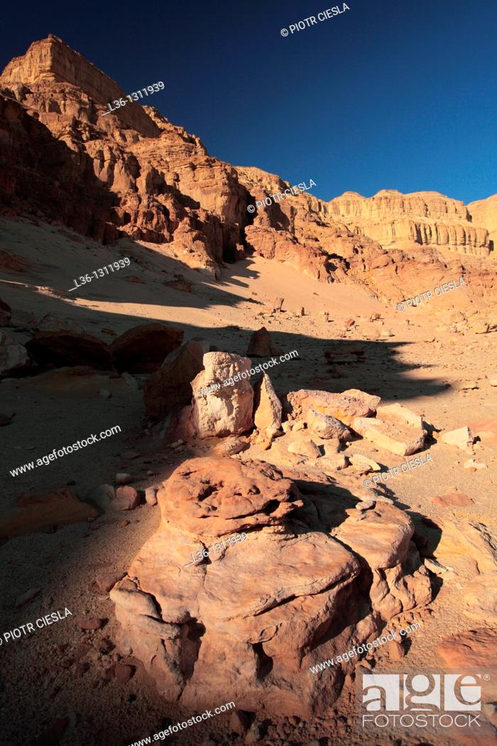 Stock Photo: Israel, Eilat Mountains, Timna Valley Park, site of Egyptian copper mines.