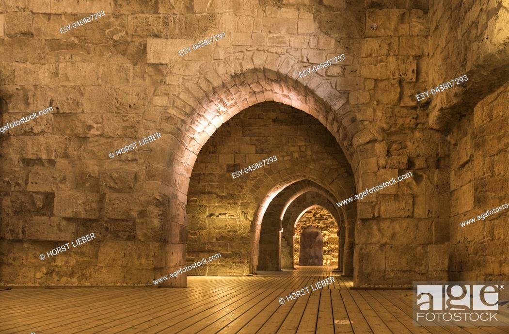 Stock Photo: The northern hall of the Hospitallerian citadel in Akko, Israel, Middle East.