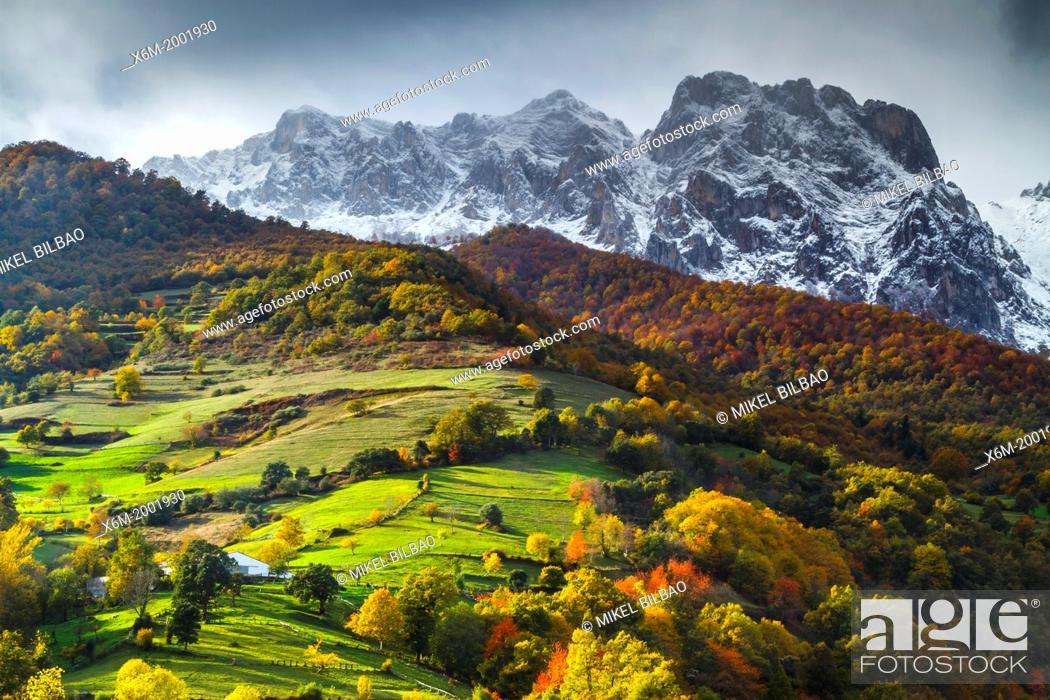 Stock Photo: Snow-covered mountains. Picos de Europa National Park.