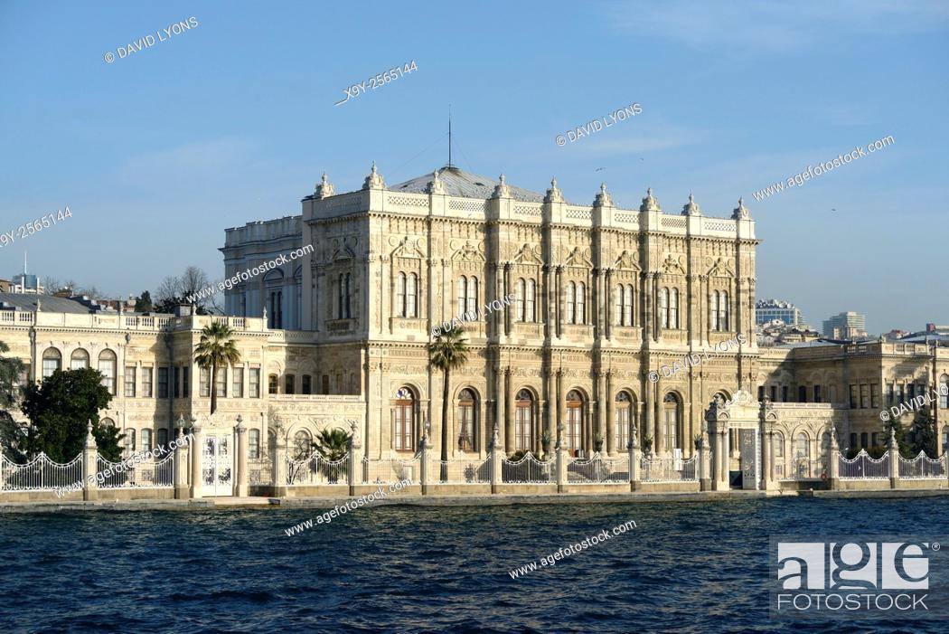 Stock Photo: Dolmabahce Palace, Istanbul, Turkey, seen from the Bosphorus. Dates from 1843. Baroque, Rococo, Neoclassical and Ottoman styles.