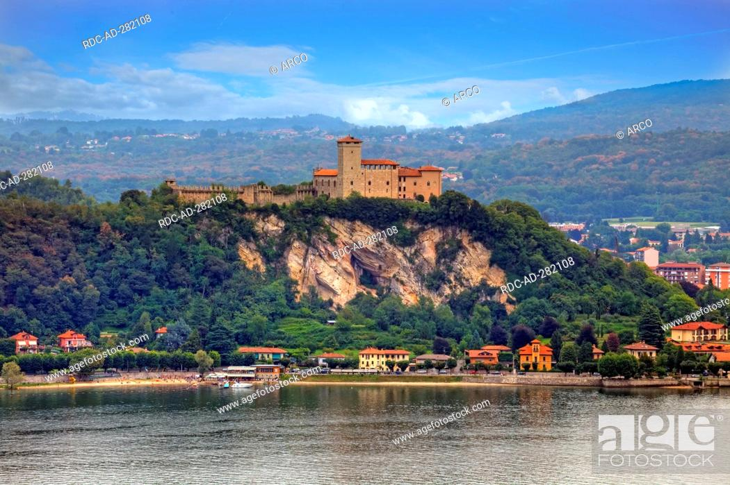 Stock Photo: Castle Rocca di Angera, Lago Maggiore, Angera, province Varese, Lombardy, Italy.