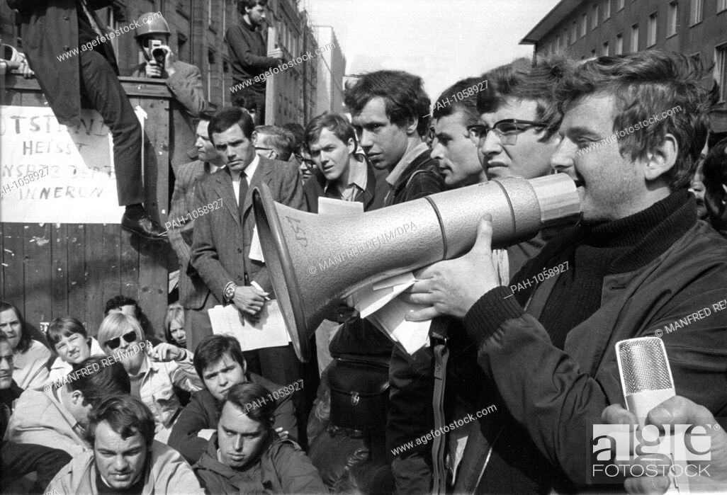 Stock Photo: The student leader Daniel Cohn-Bendit spoke to the students during the blockade of Frankfurt University on 24 May 1968. On the left next to him.