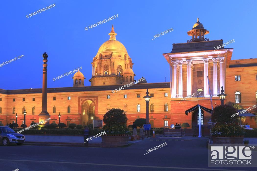 Stock Photo: Secretariat Building at Night, New Delhi, India.