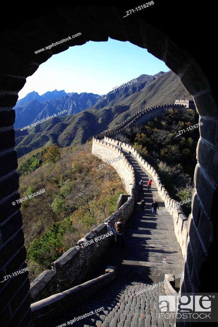 Stock Photo: China, near Beijing, Mutianyu, Great Wall of China.