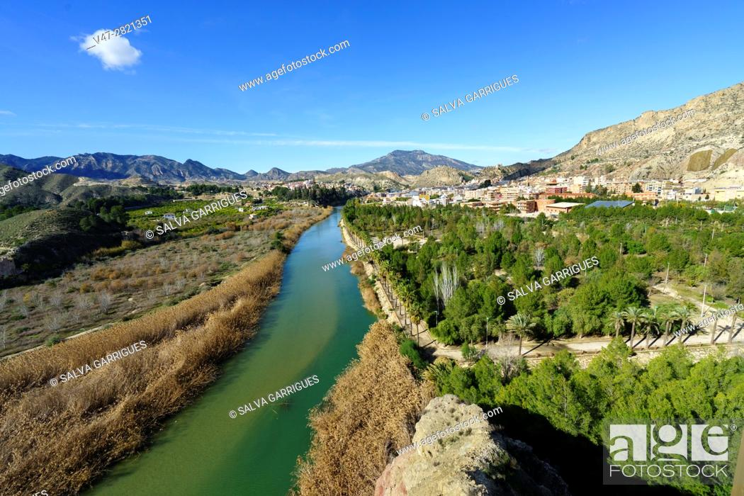 Stock Photo: Panoramica of the river Segura and the town of Blanca, Murcia, Spain, Europe.