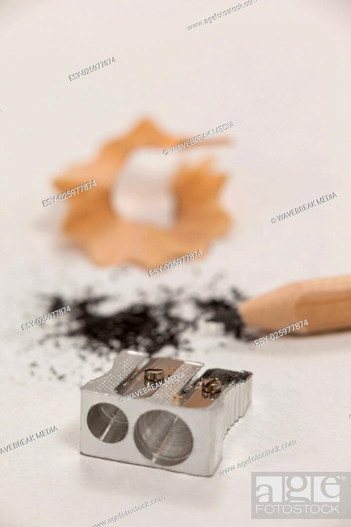 Stock Photo: Close-up of sharpener and pencil.