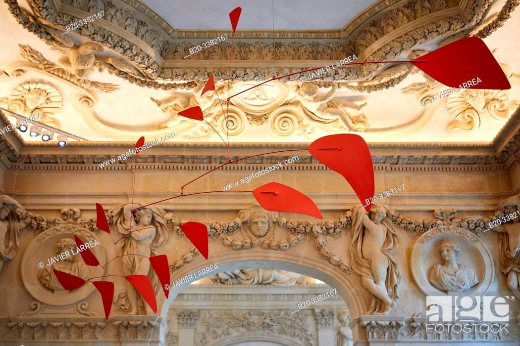 """Stock Photo: """"Big Red"""", 1959, Alexander Calder, Picasso Museum, Paris, France, Europe."""