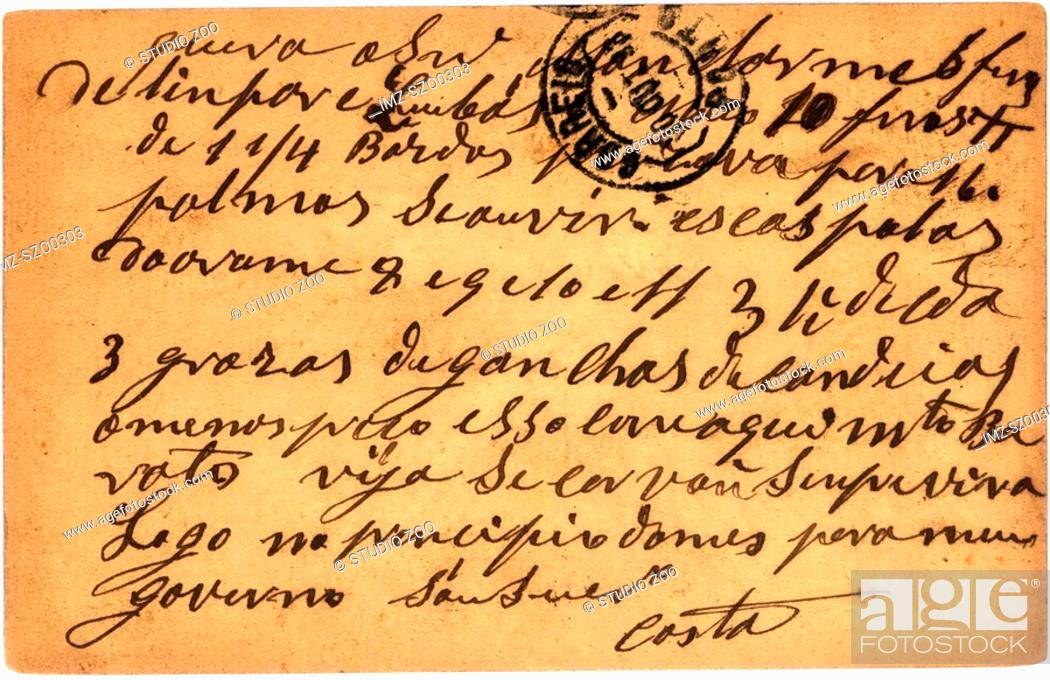 Stock Photo: Vintage postcard with script writing, from Portugal.