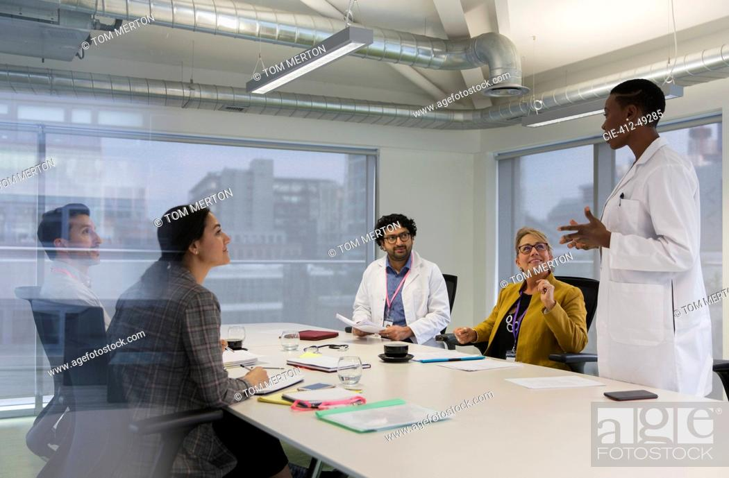 Stock Photo: Female doctor leading conference room meeting.