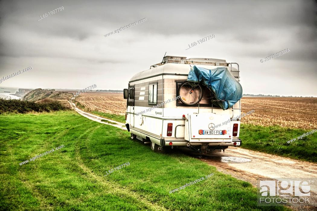 Stock Photo: Motorhome in Longues sur Mer, Normandy, France.