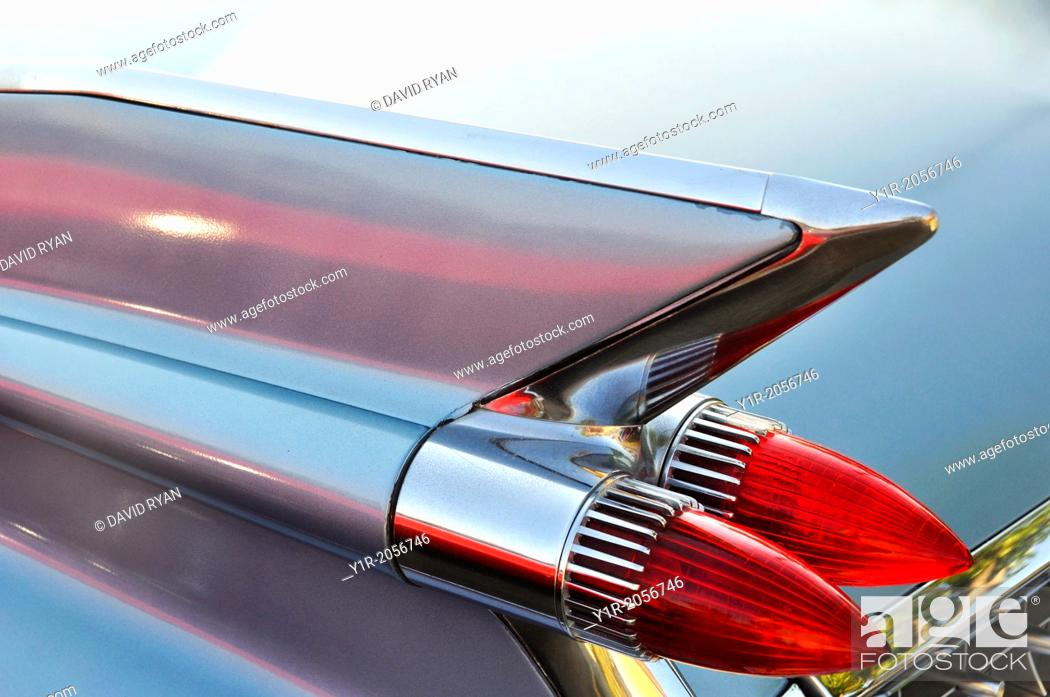 Stock Photo: Tail fins of a 1959 Cadillac, 52 Series.