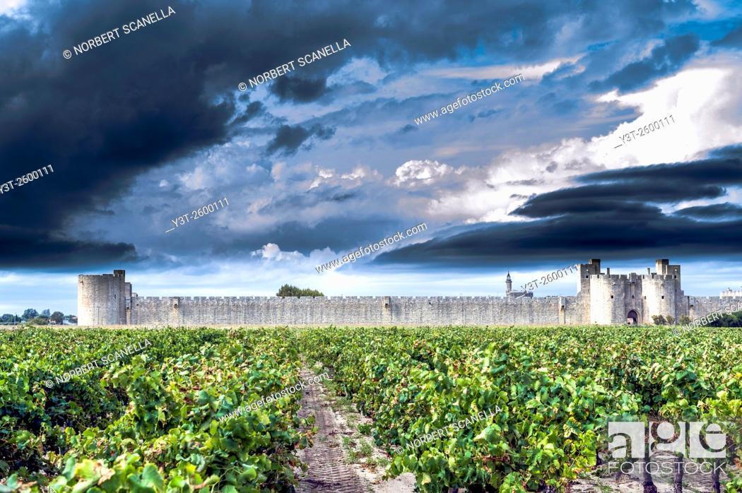 Stock Photo: Europe, France, Gard. Aigues-Mortes. Cty wall of Aigues-Mortes.
