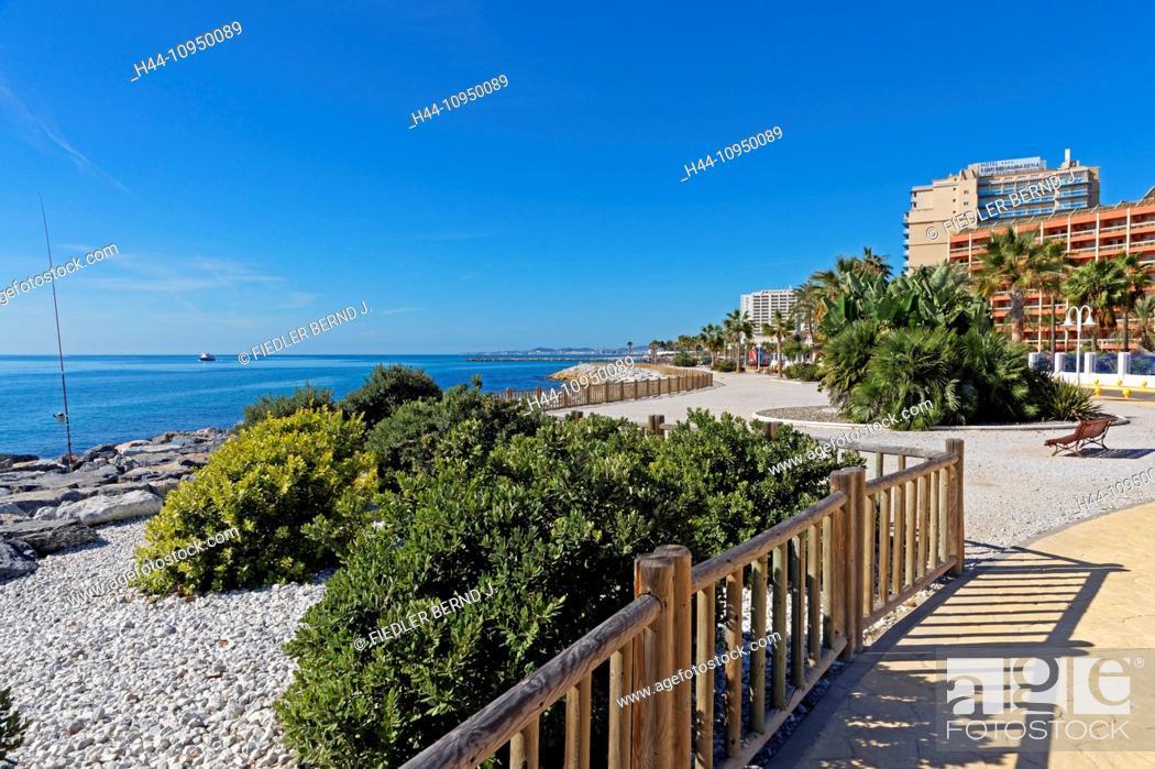 Stock Photo Europe Spain Es Andalusia Benalmadena Costa Calle Torrevigia Hotel Sunset Beach Club Palms Architecture Trees Catering Gardens