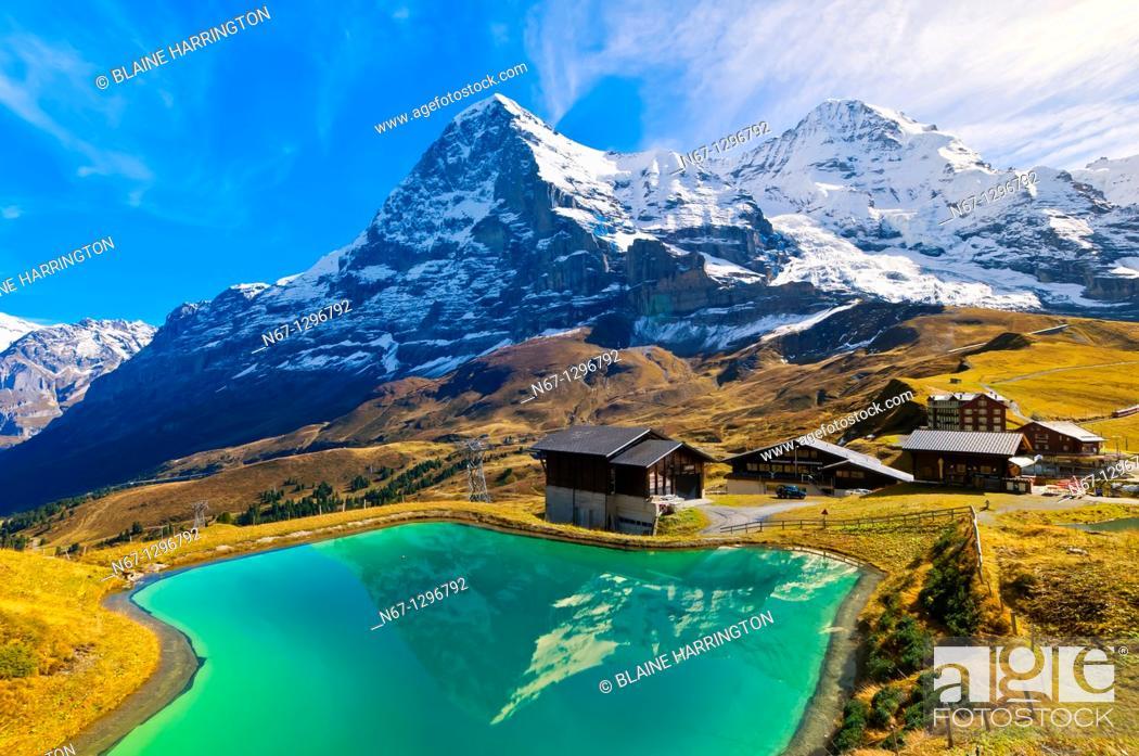 Stock Photo: Hiking in the Swiss Alps from Mannlichen to Kleine Scheidegg, Canton Bern, Switzerland.
