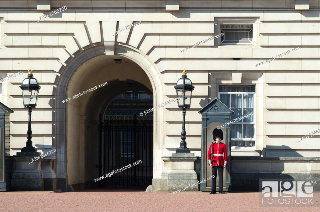 Stock Photo: The Queen's Guard at Buckingham Palace in London, England.