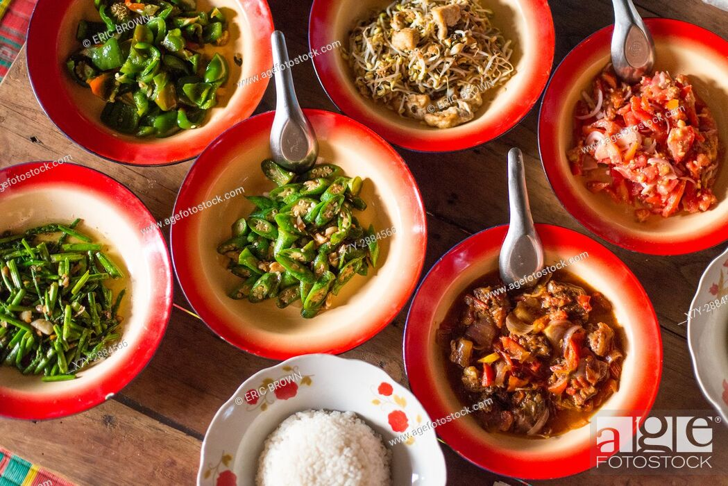 Stock Photo: Bowls of food in small village in Myanmar.