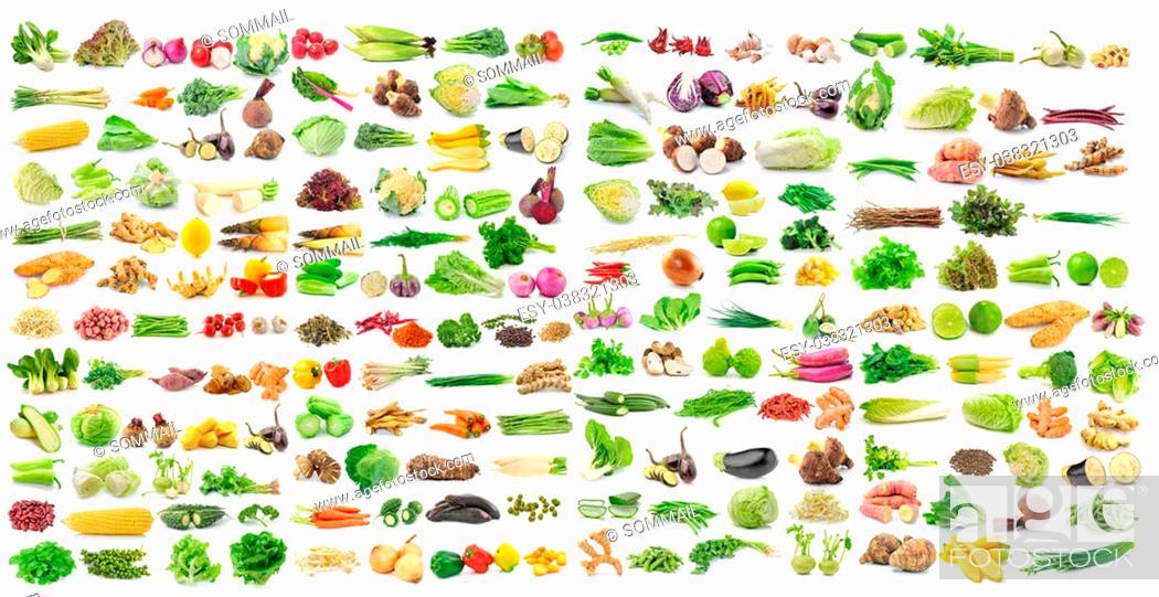 Stock Photo: set of vegetable on white background.