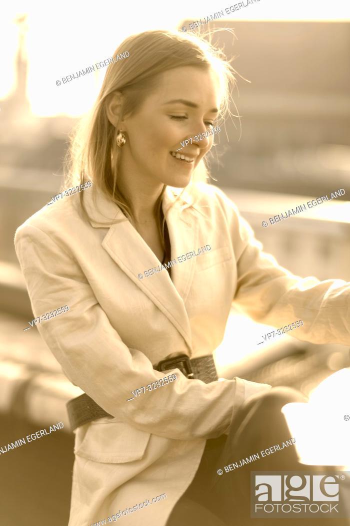Stock Photo: fashionable blogger woman, in Munich, Bavaria, Germany.