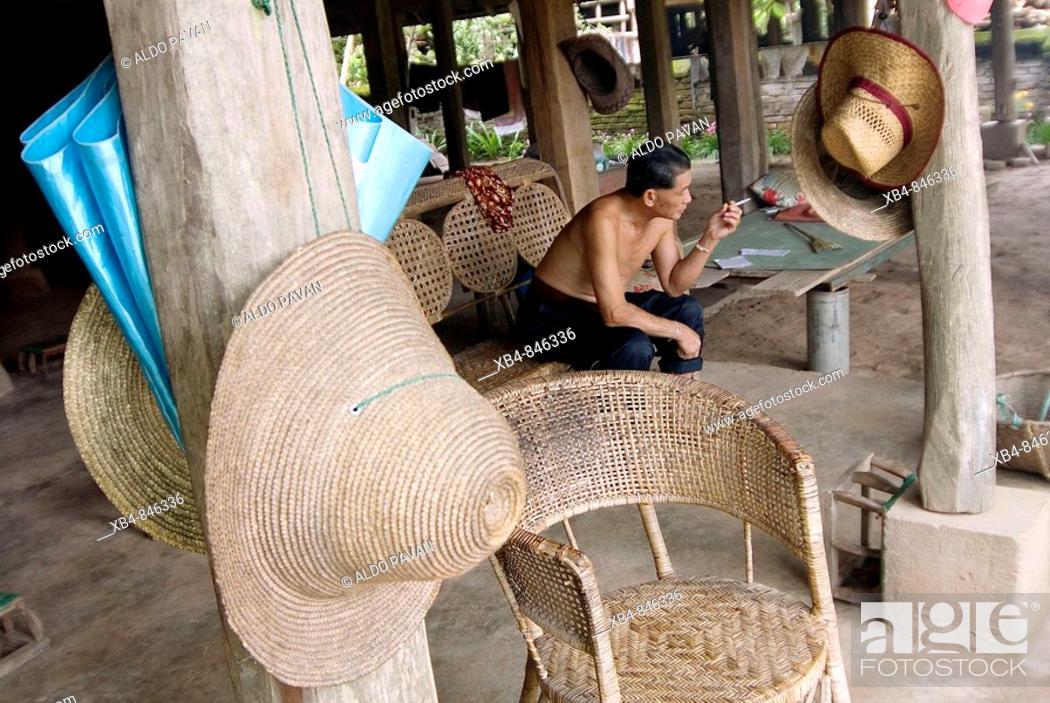 Stock Photo: Dai minority village, Ganlanba, Xishuangbanna, Yunnan province, China.