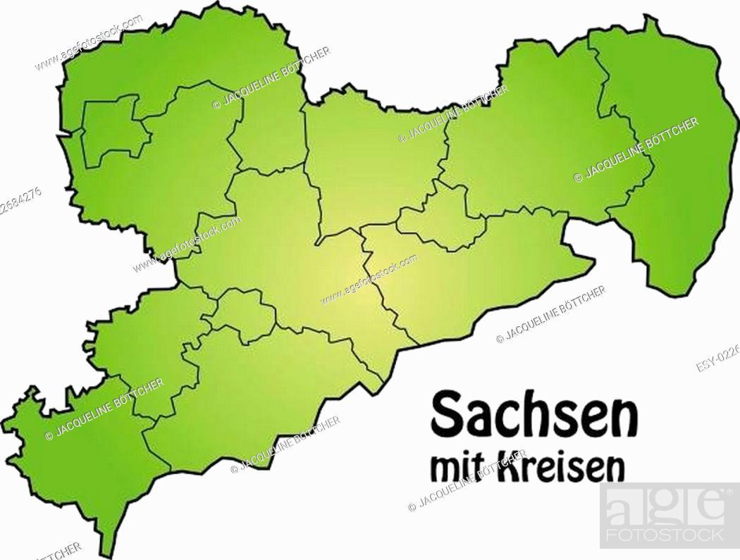 Stock Vector: Karte von Sachsen mit Grenzen in Grün.
