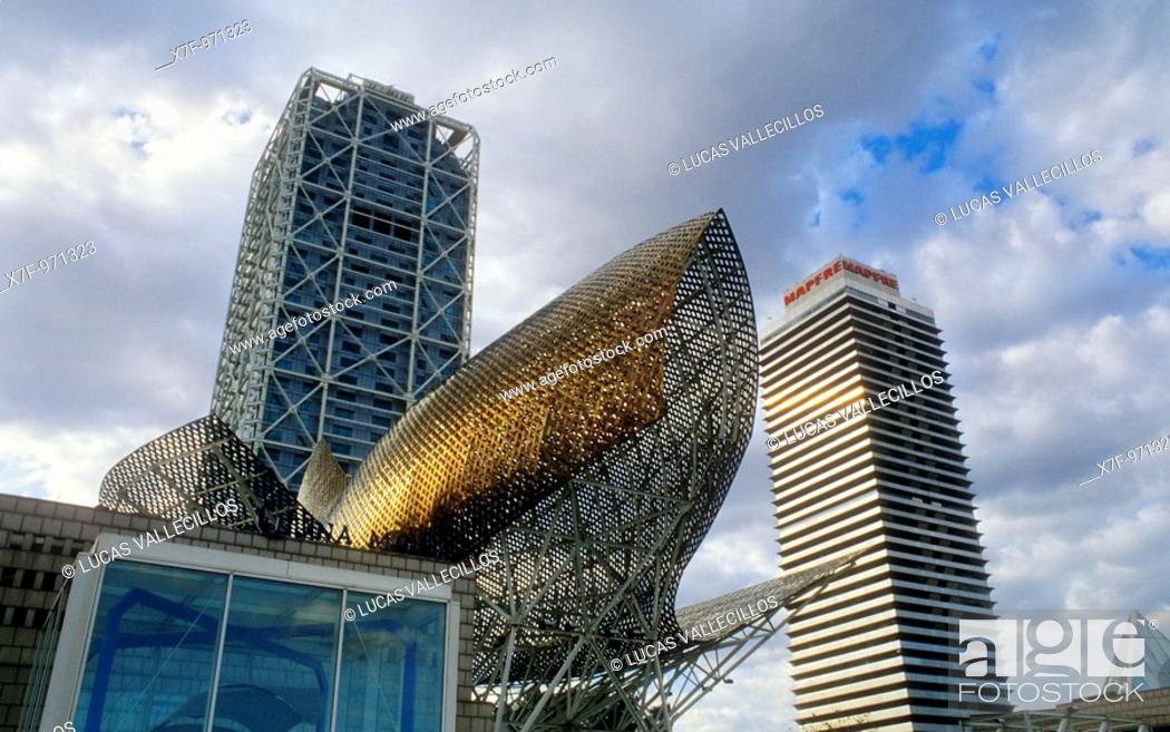 Stock Photo: Barcelona: Hotel Arts and Mapfre Tower  `Peix'fish Sculpture by Frank O  Gehry.