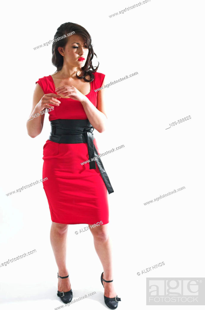 Stock Photo: Attractive Asian woman plays the Femme Fatal.