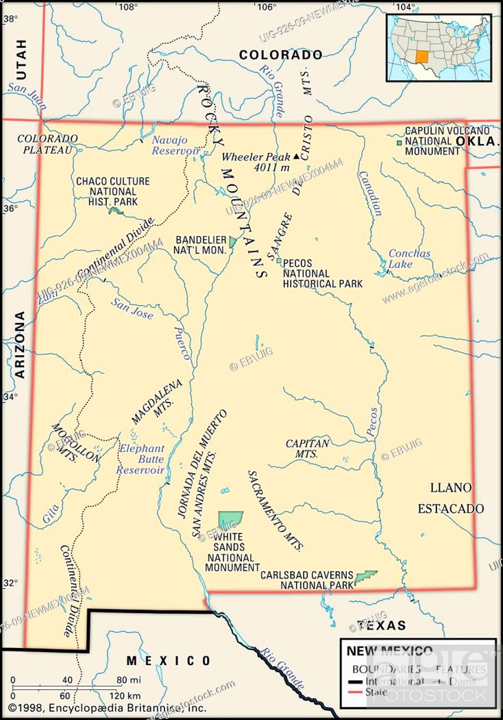 Physical map of the state of New Mexico showing major ...